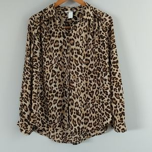 H&M animal print button down shirt NWOT